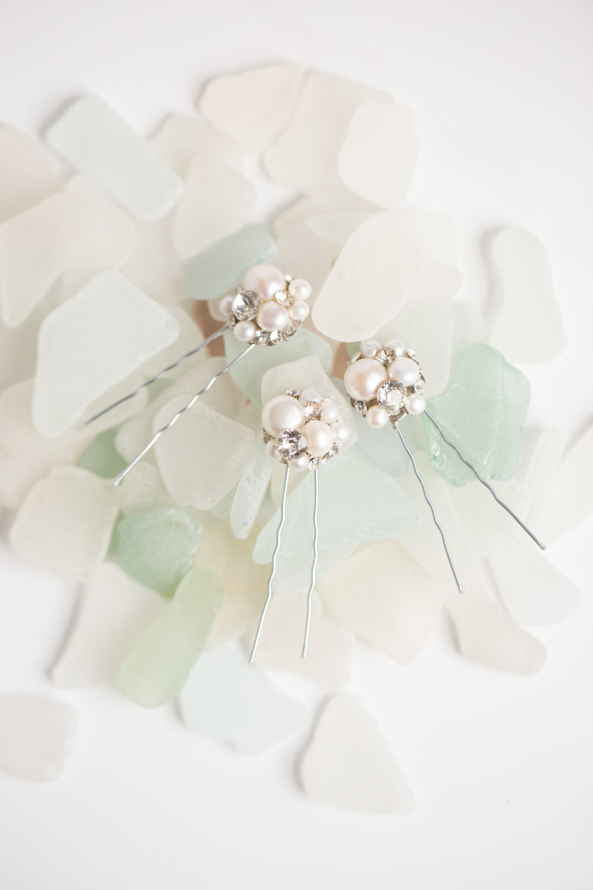 bridal pearl hair pins on green sea glass