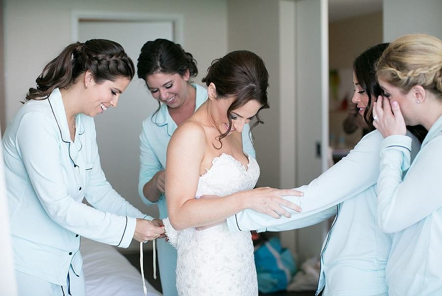 miami wedding with bride getting dressed