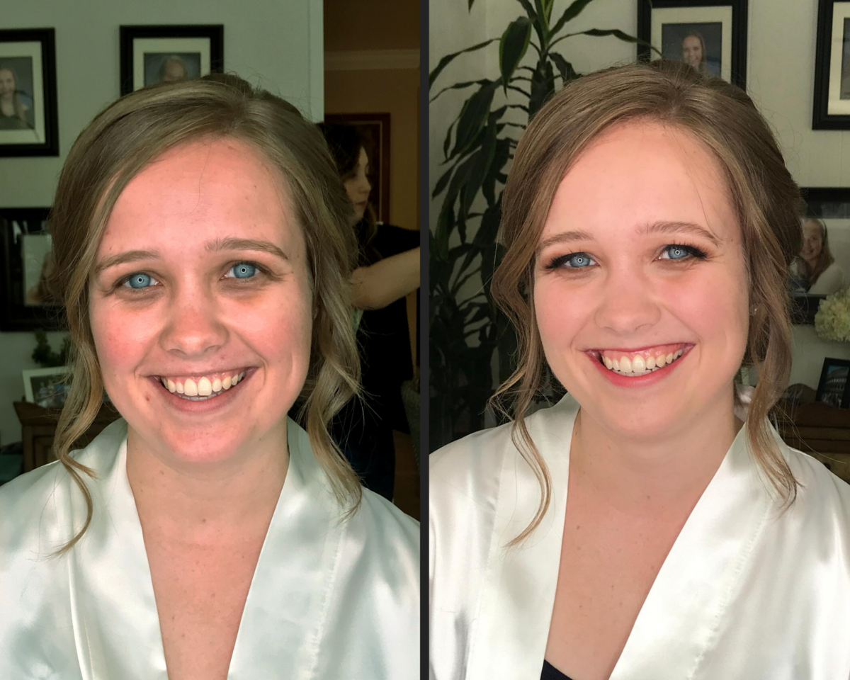 before and after makeup - bride