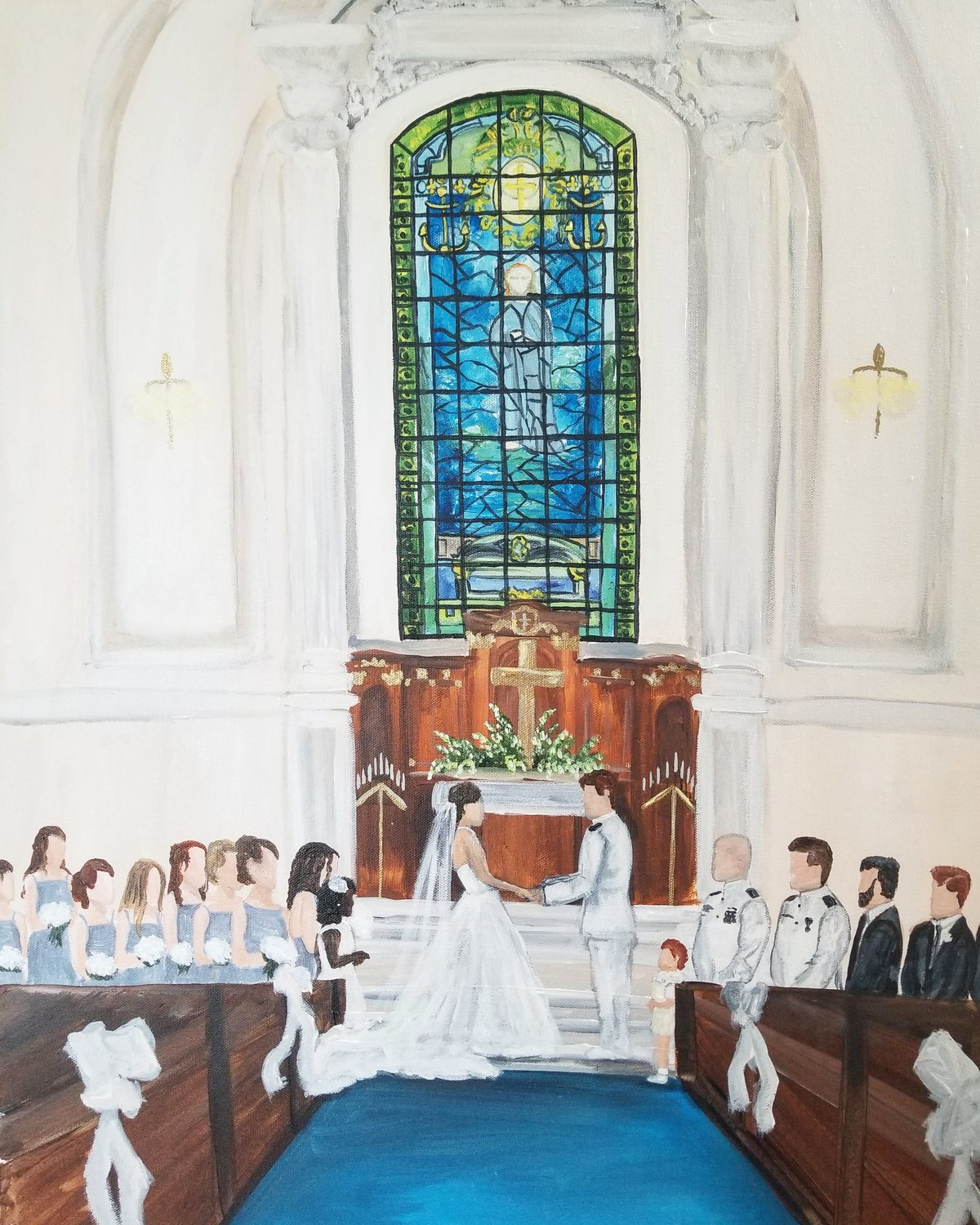 US Naval Academy Chapel wedding ceremony live wedding painting Annapolis Maryland