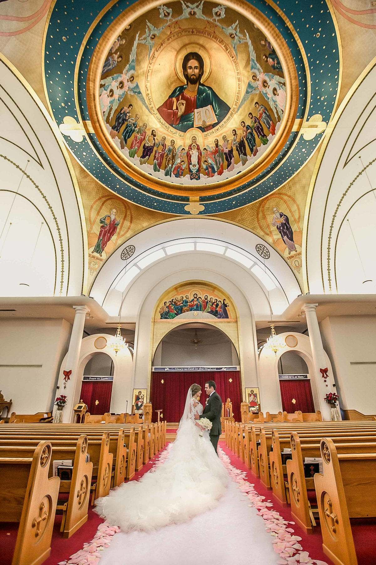 Bride and Groom In Saint John Church West Covina_