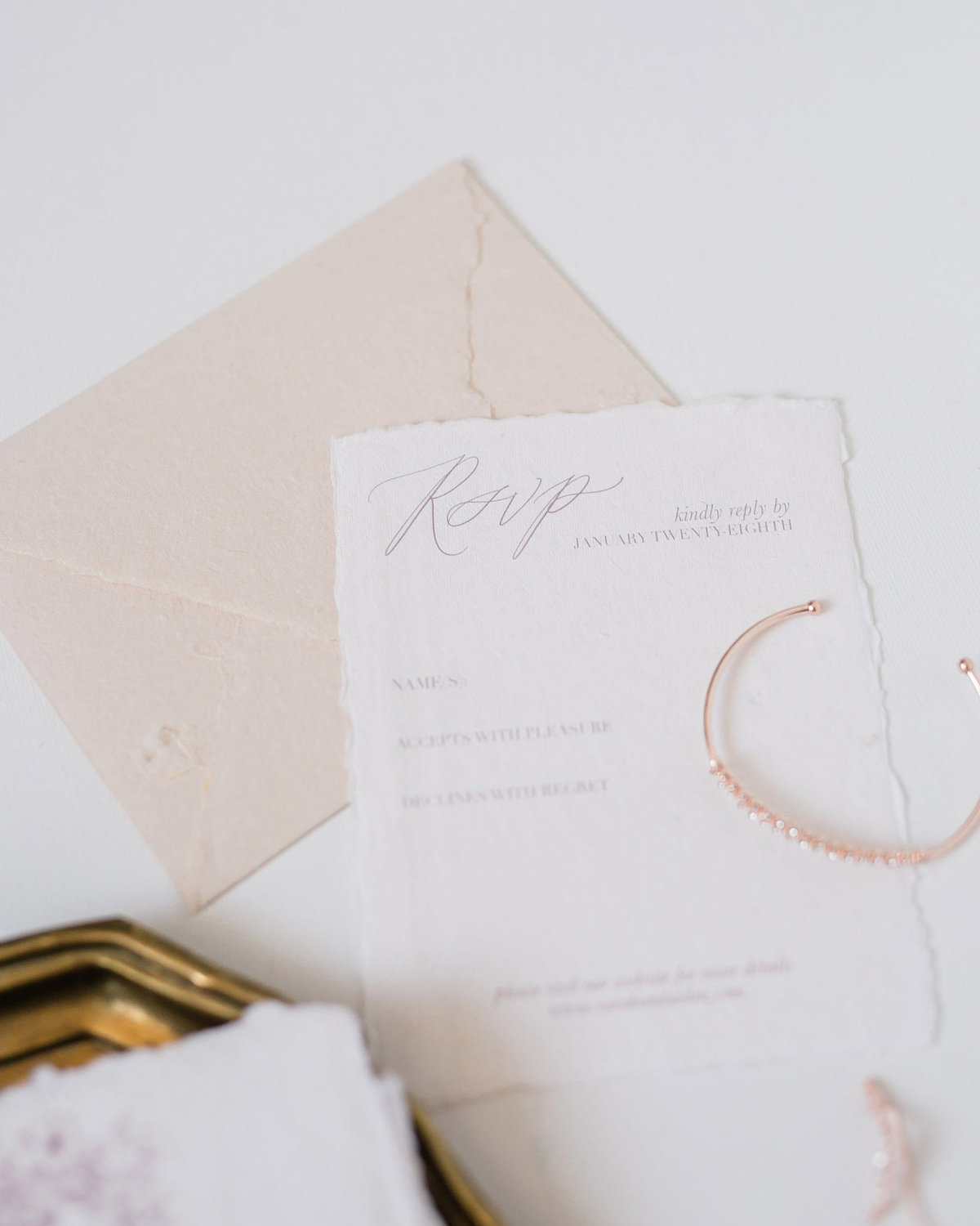 Plume & Fete collections timeless invitation rsvp card and envelope