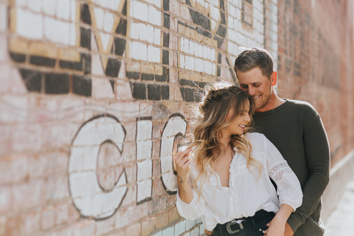 This fun couple session got engaged outside in the urban streets of Precsott Arizona