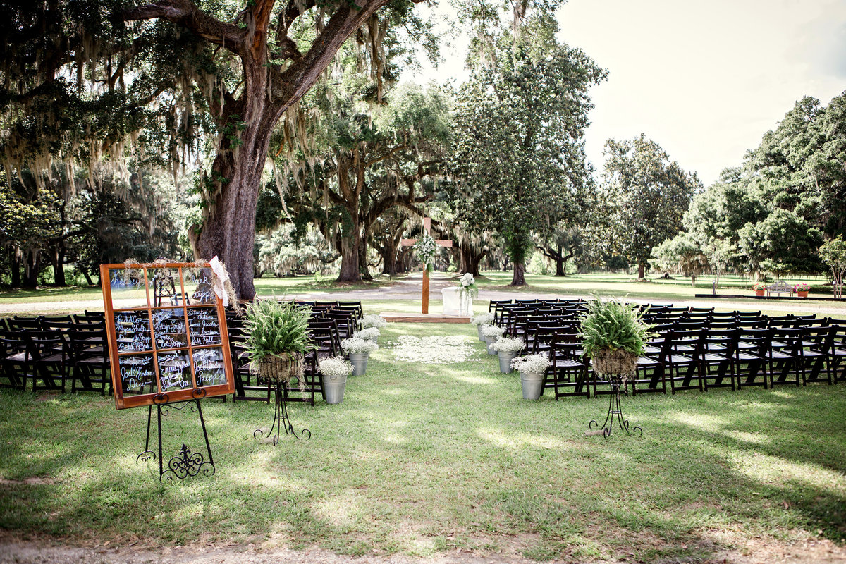 Ceremony site at Charleston, SC plantation by Knoxville Wedding Photographer, Amanda May Photos.