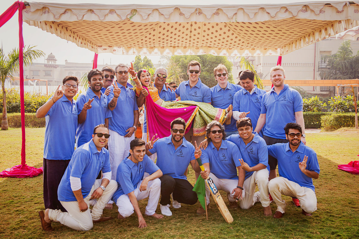 Bride with her Cricket team