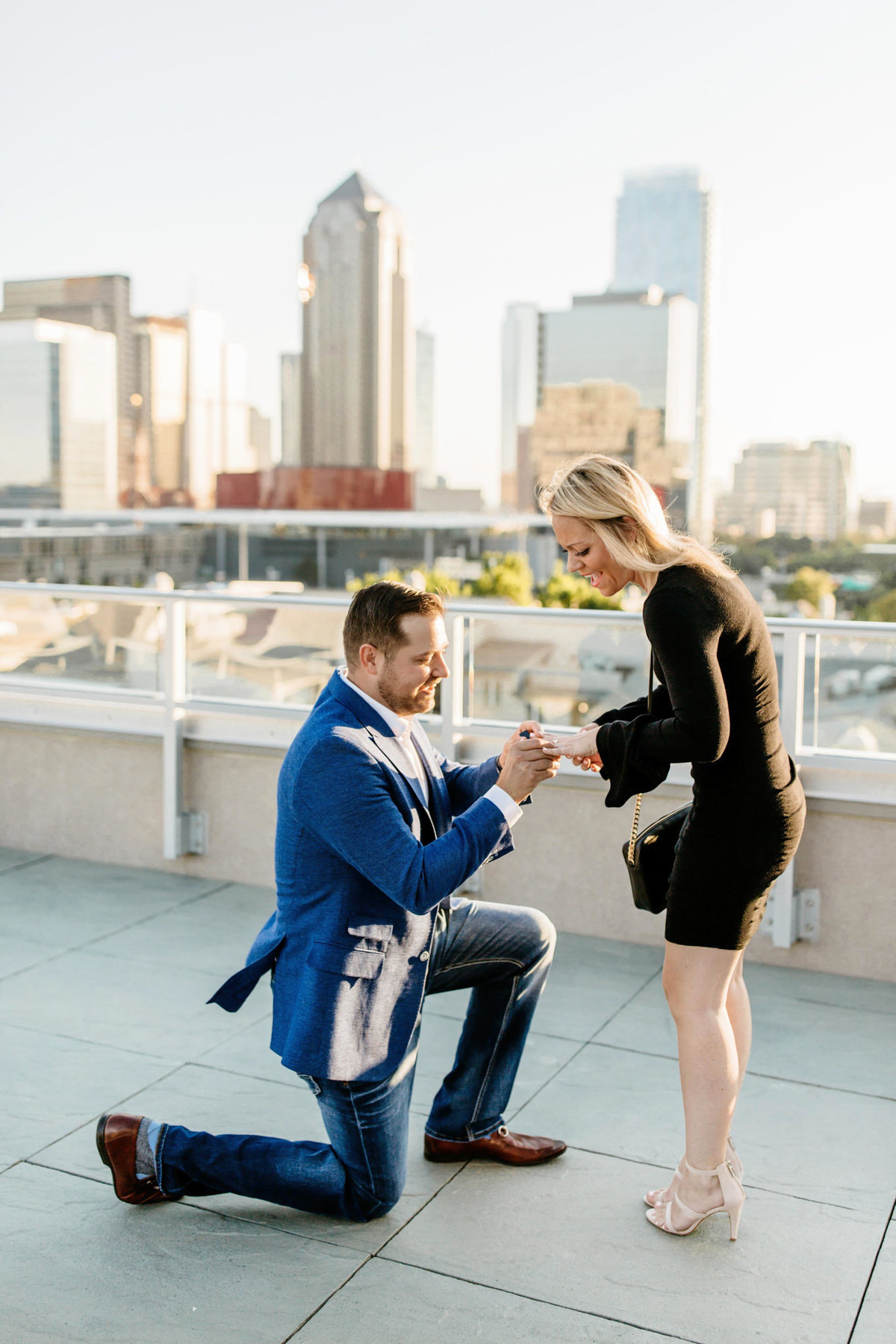 Eric & Megan - Downtown Dallas Rooftop Proposal & Engagement Session-38