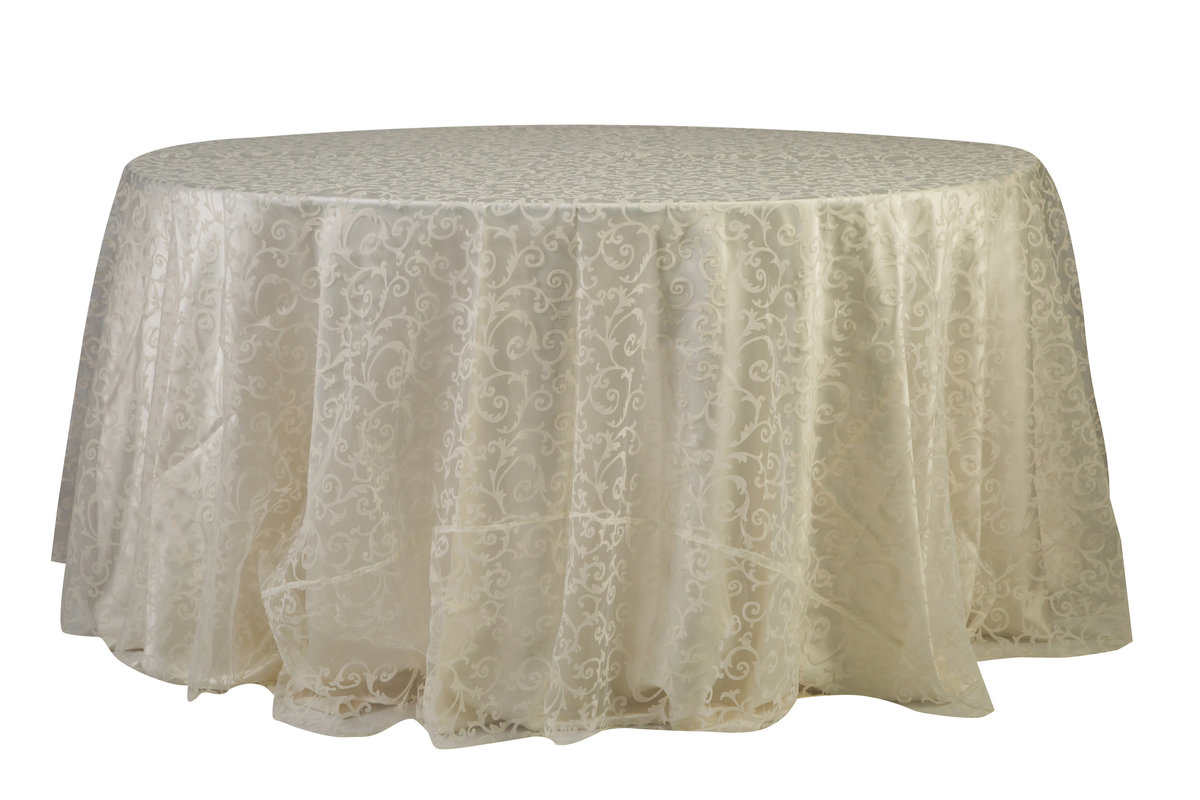 120'' Rd Ivory Damask Tablecloth