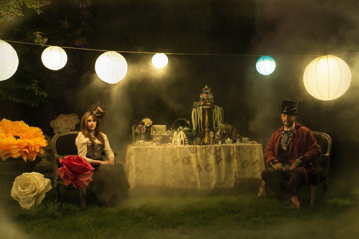 Katherine and Ryan night photo shoot - Mad Hatter Tea Party Steam Punk style