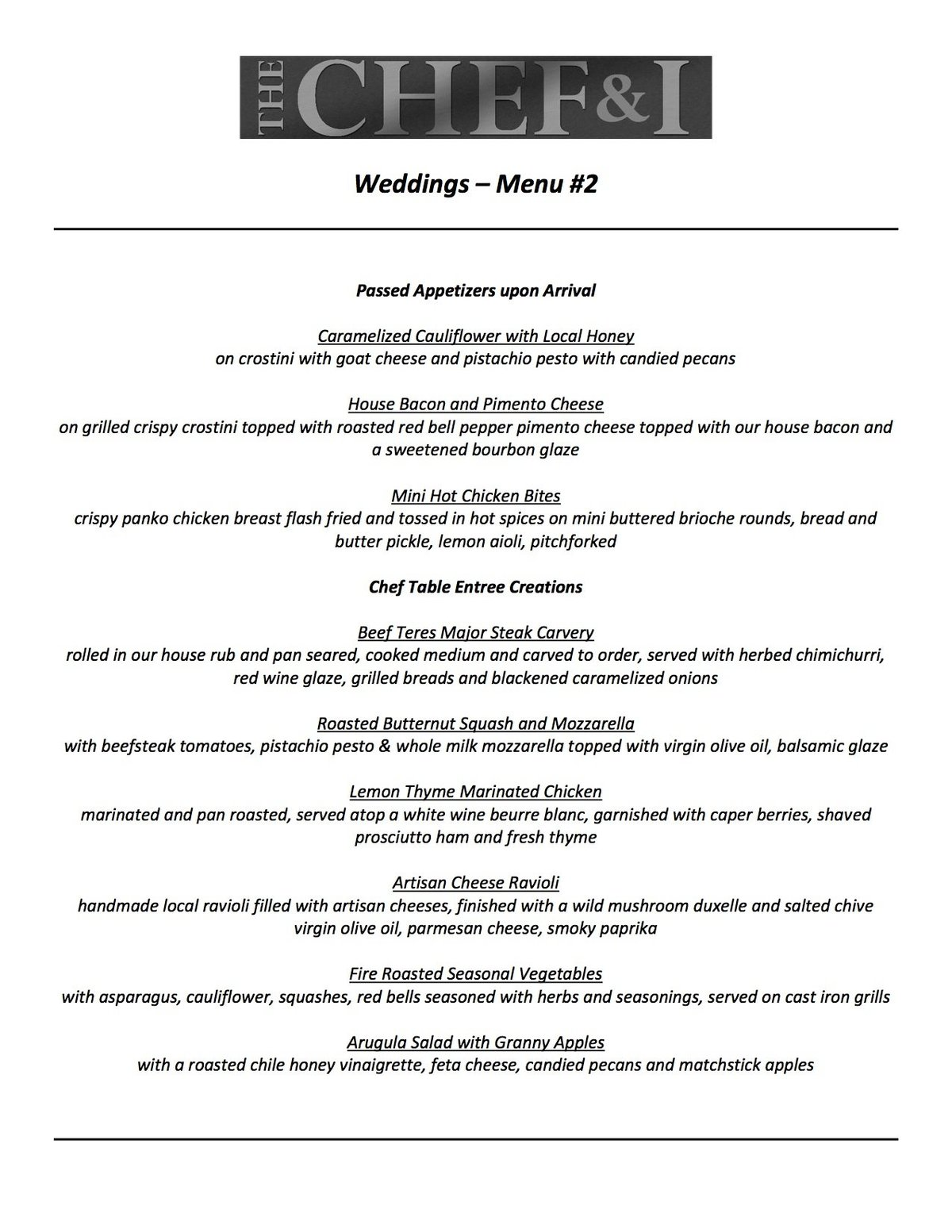 Weddings Menu 2