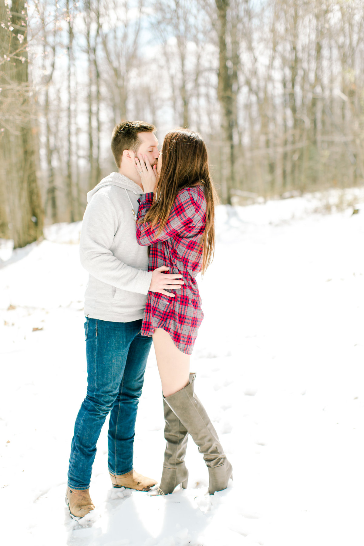Winter Snowy Engagement Session in The Woods-9