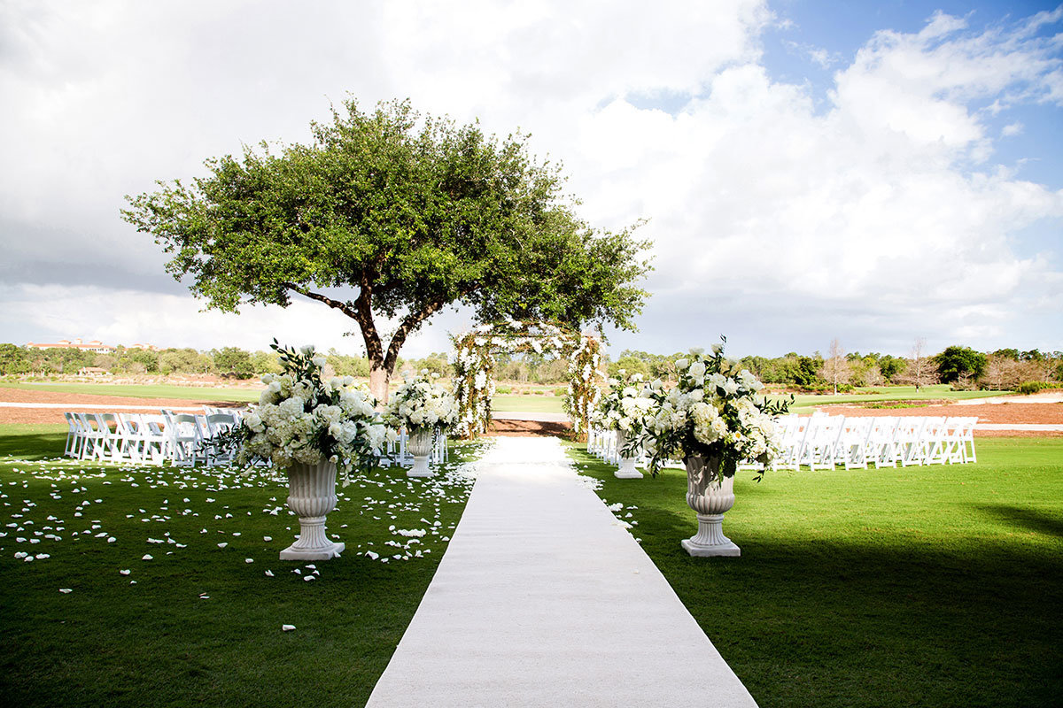 ritz tiburon naples wedding arch and flowers