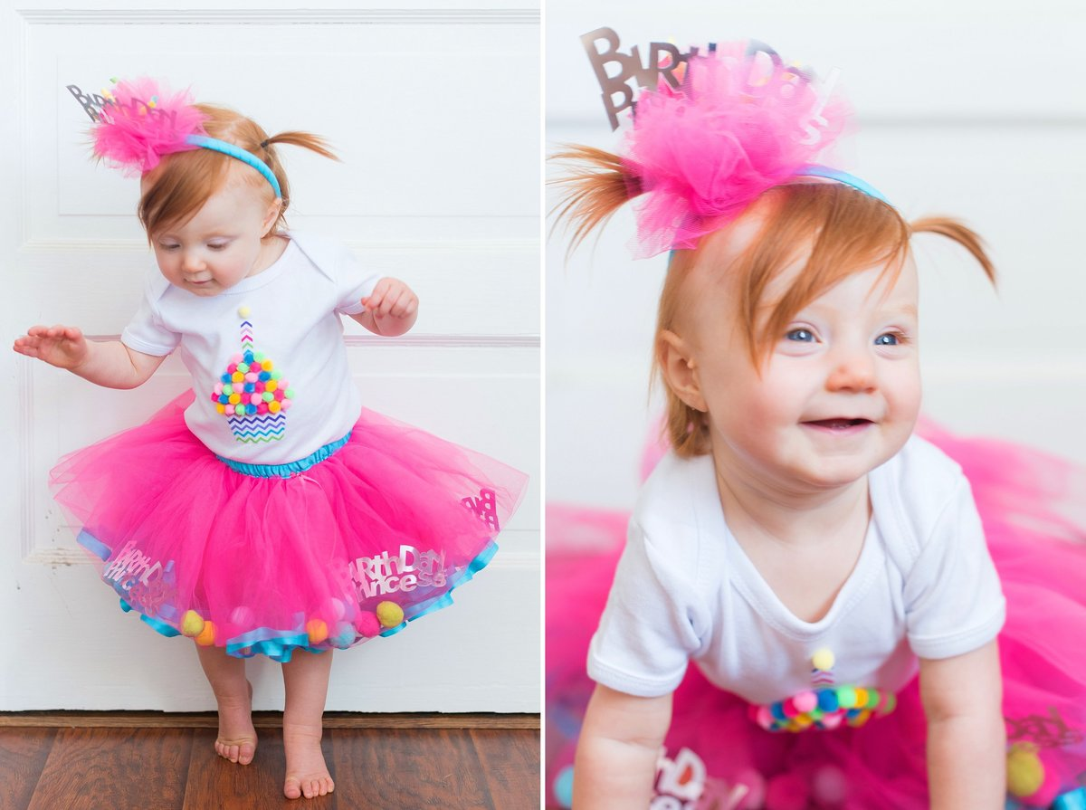 Redheaded one year old baby crawling and standing in a Happy Birthday pink tutu and headband in Pittsburgh, Pennsylvania Photo