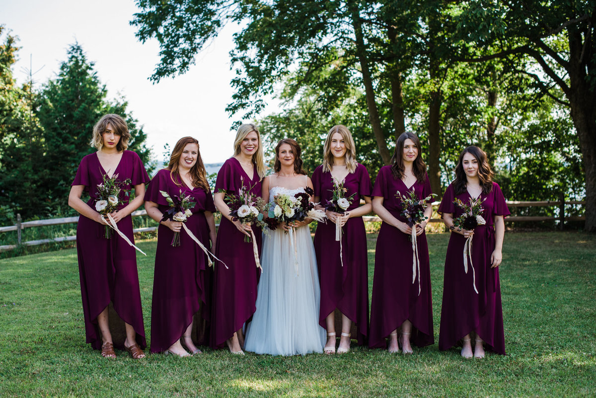 marsala bridesmaids, Vermont Lake Champlain wedding