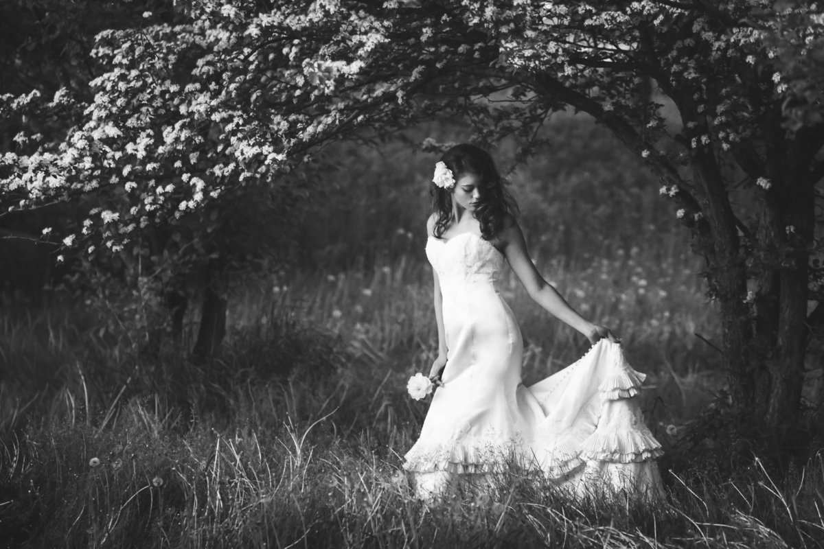 Beautiful bride in spring bridal ruffled dress in orchard by Casi Lea Photography-green bay wedding photographer-door county wedding photographer-milwaukee wedding photographer-appleton wedding photographer-wisconsin weddings
