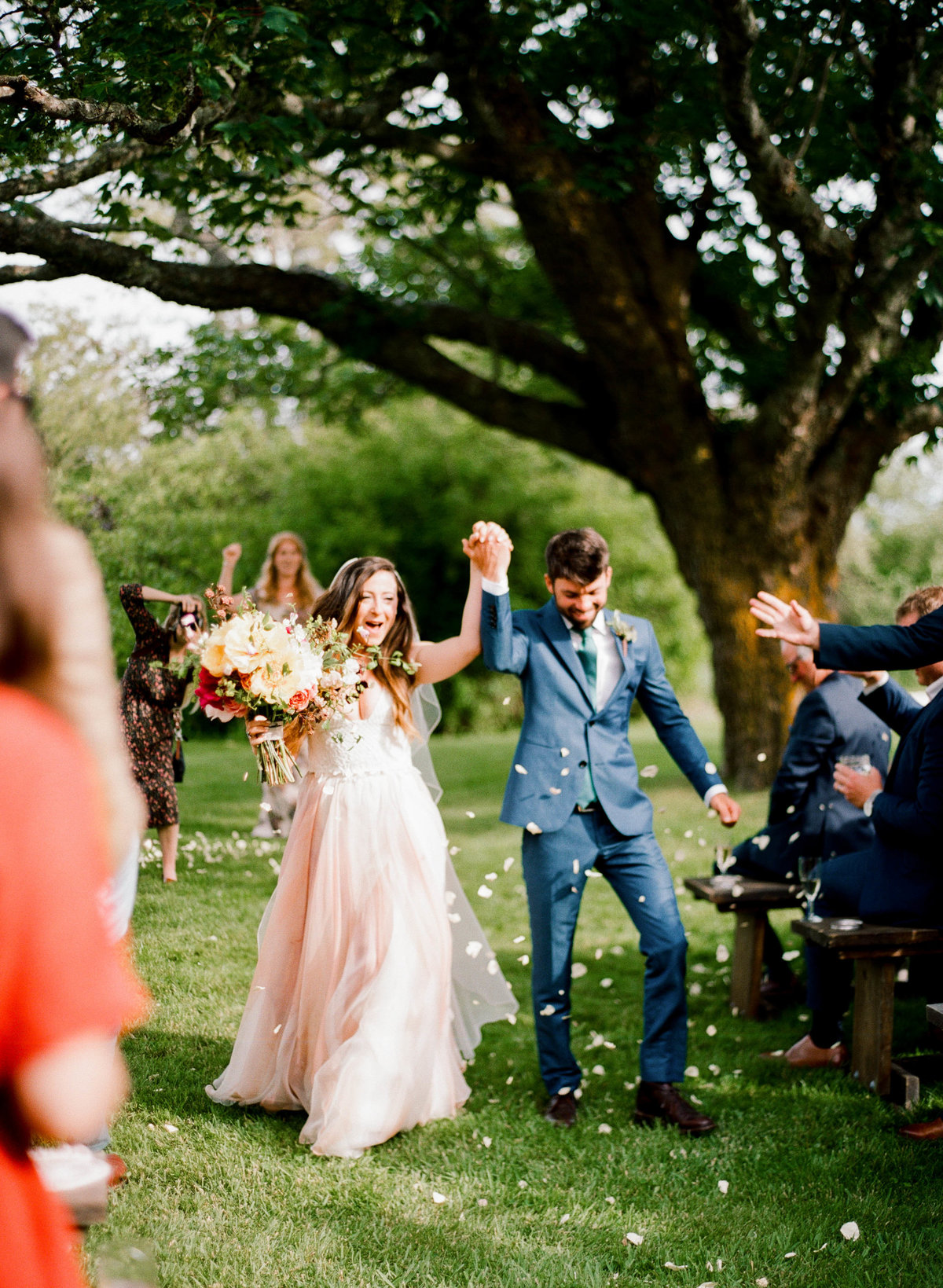 ceremony recession flower toss nantucket backyard wedding