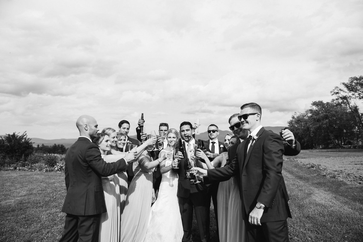 black and white bridal party wedding toast