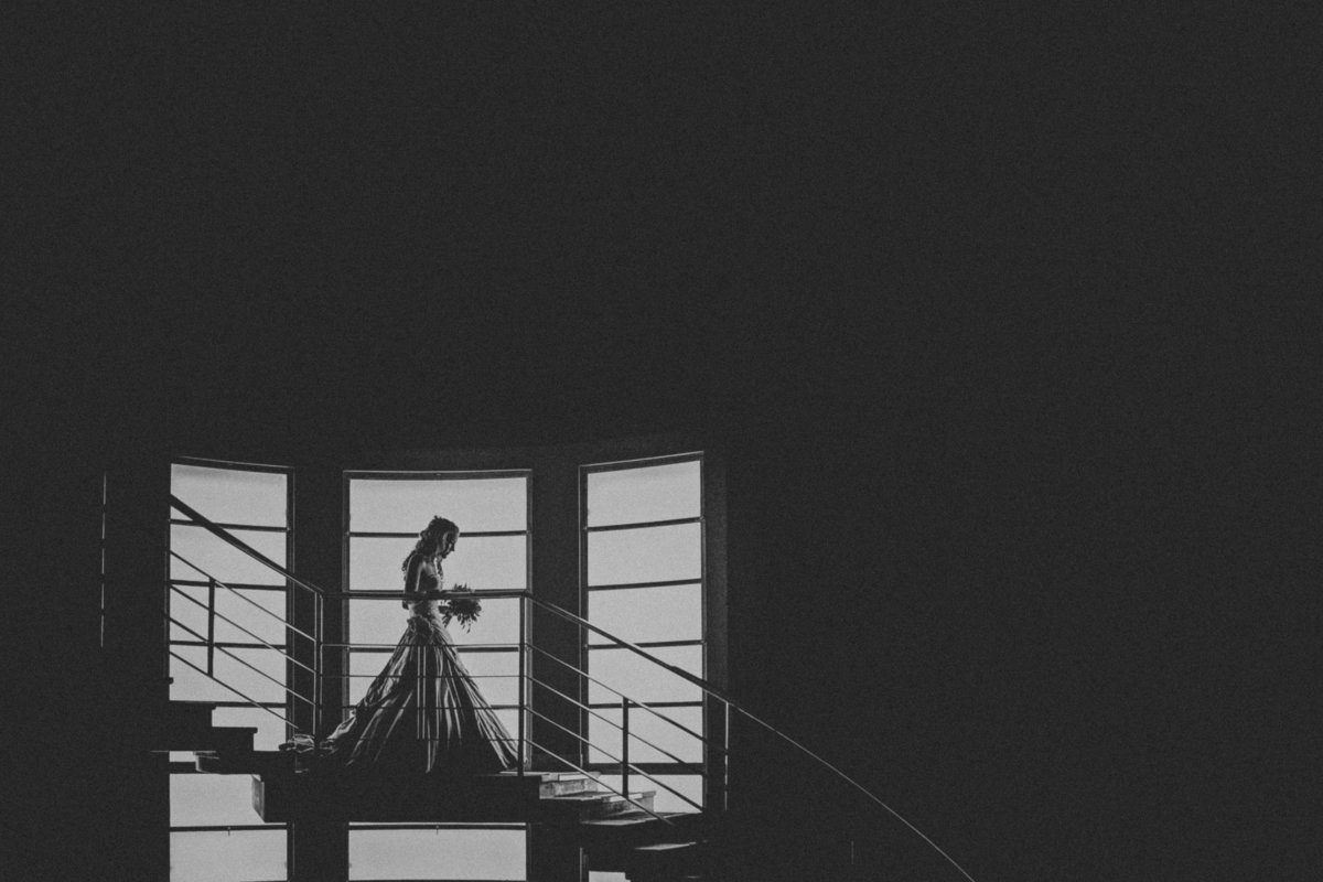 Bride Silhouetted on staircase of the Midland Hotel, Morecambe by Lancashire Wedding Photographer Jono Symonds
