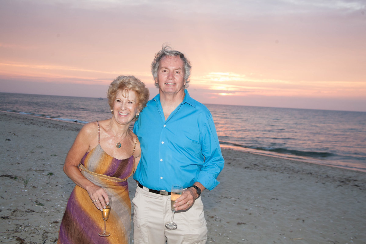 mom and dad at beach wedding