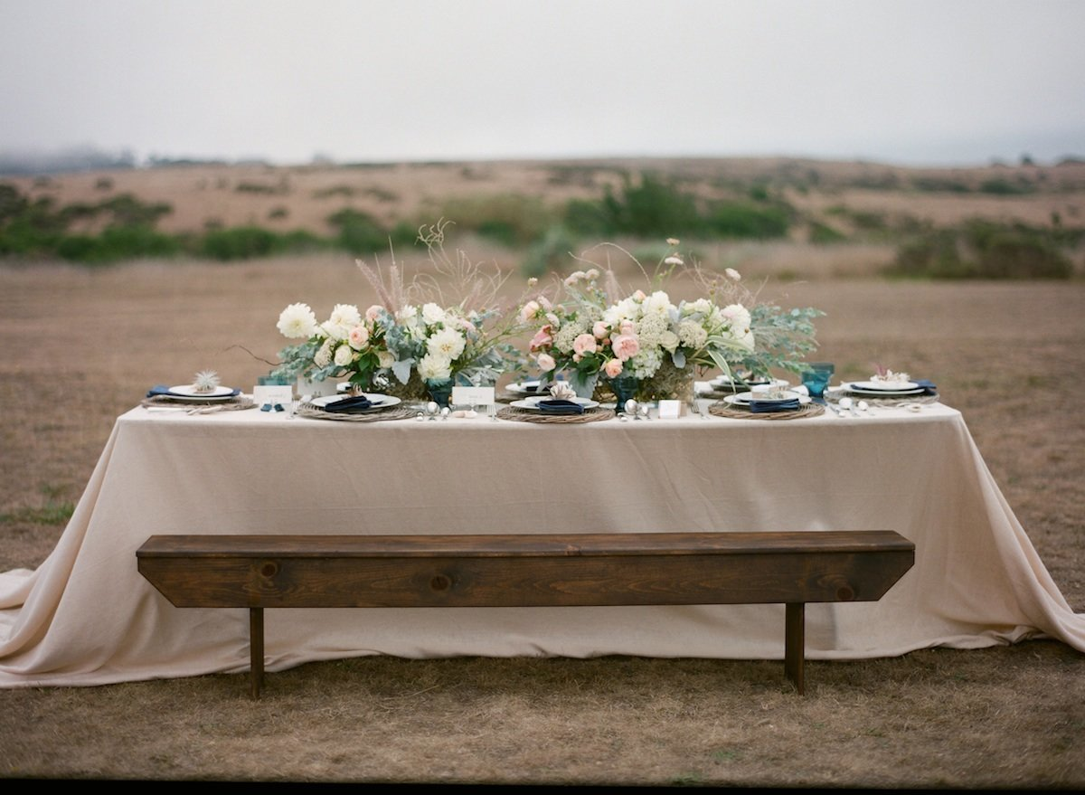 long table with flowers