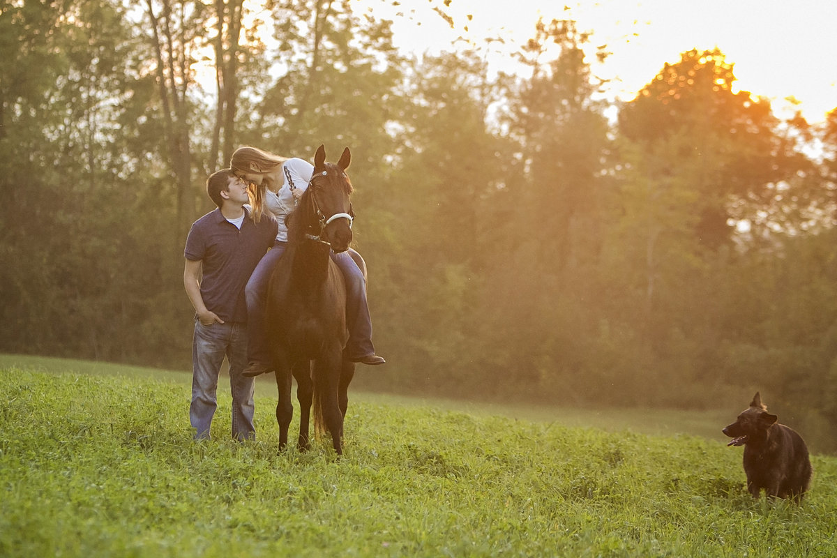 Engagement pictures with horse and pet dog