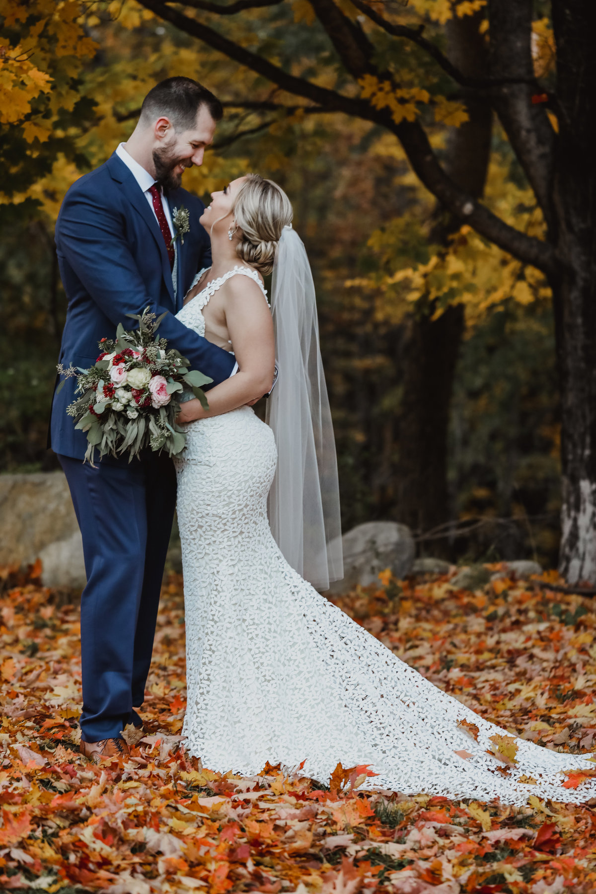 Fall wedding in Maine bride and groom