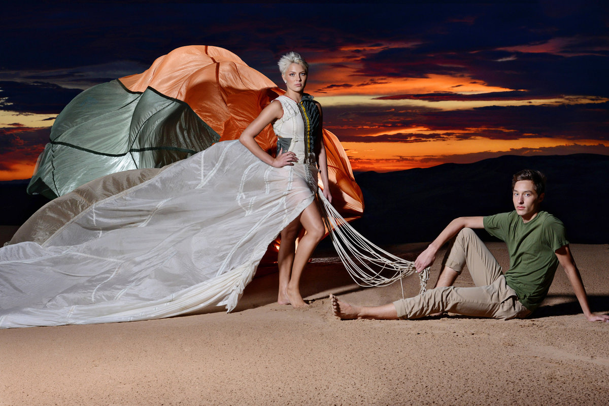 session with parachute dress at Imperial Sand Dunes