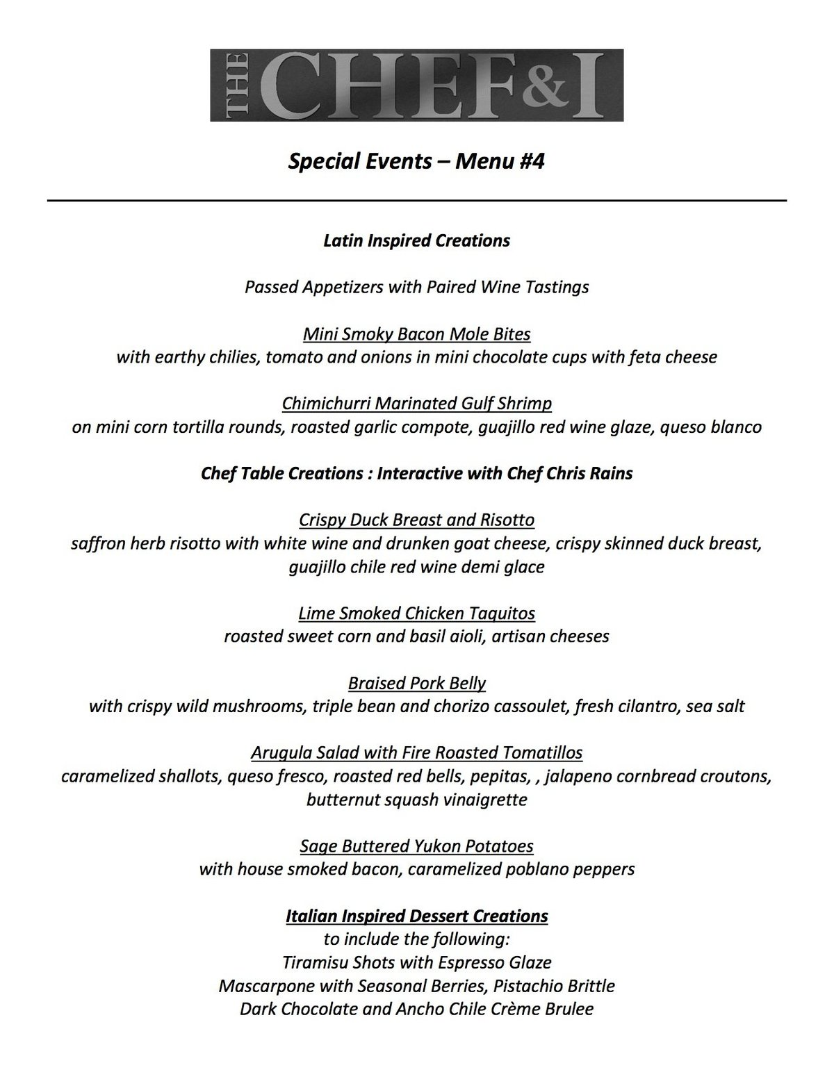 Special Events Menu 4