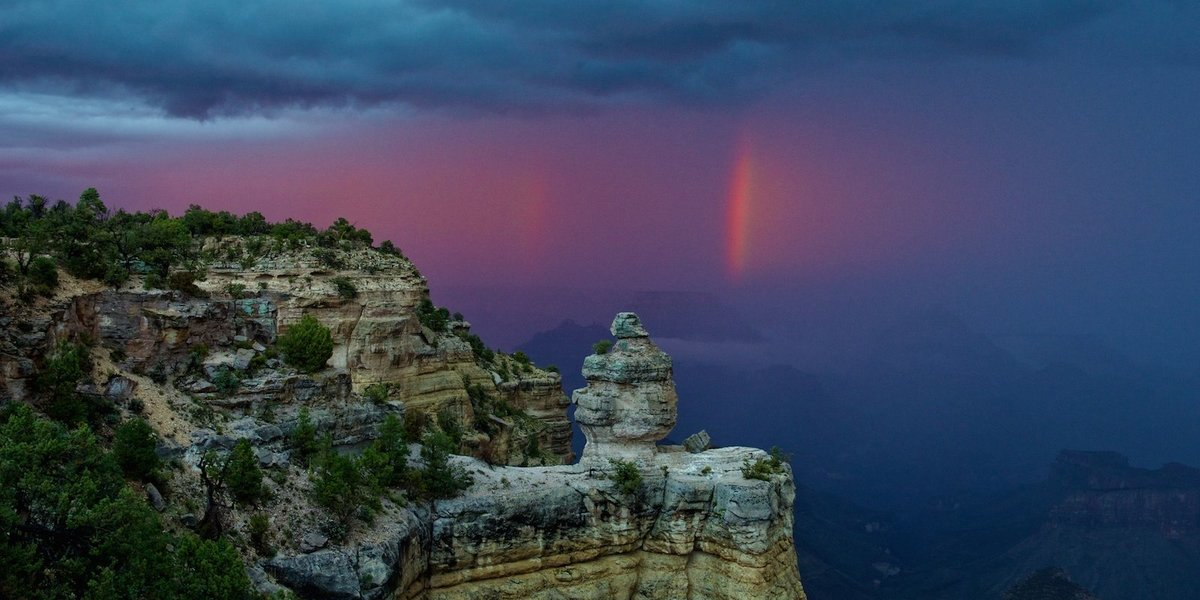 grand canyon with double rainbow