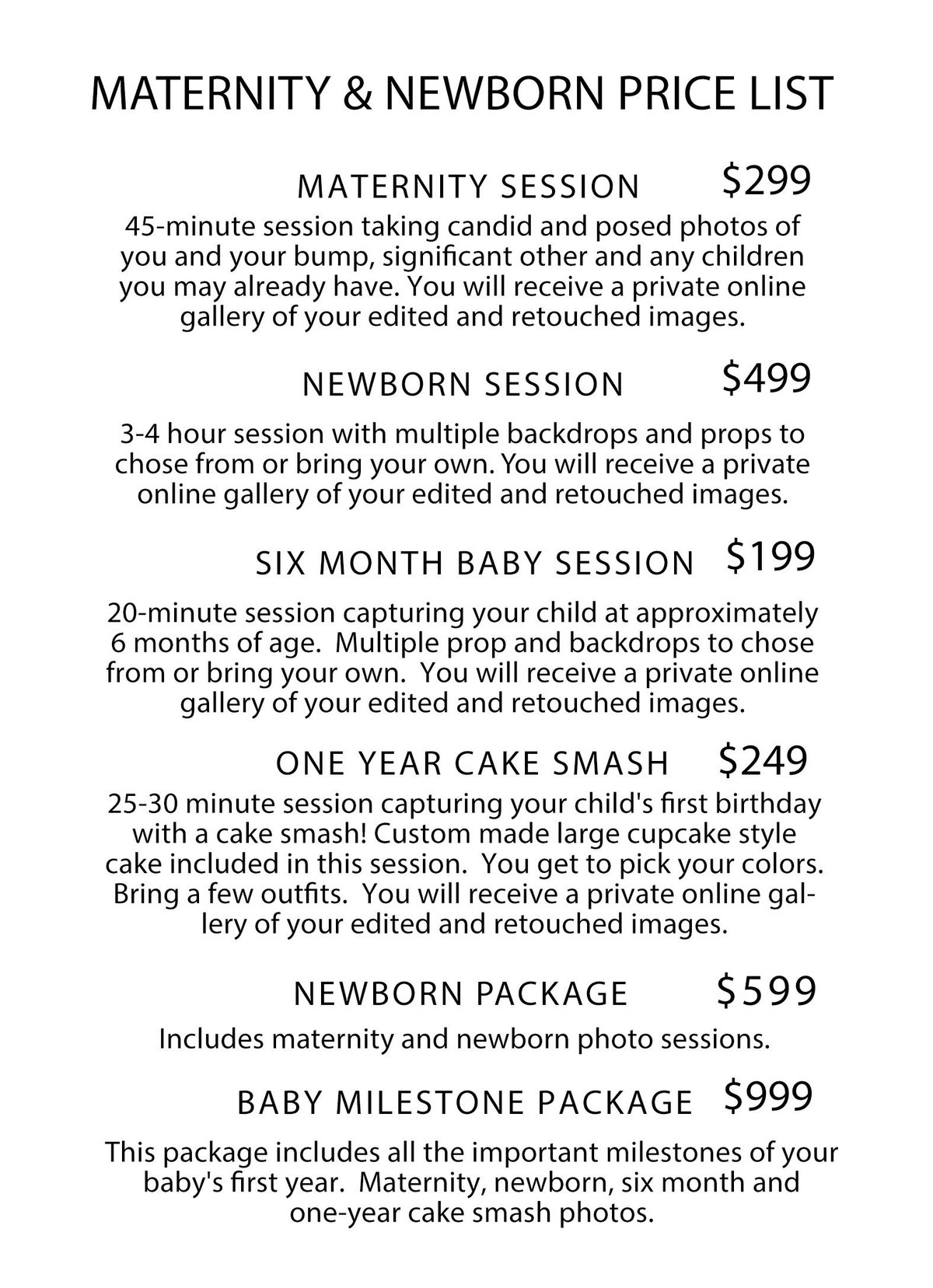 Maternity & Newborn Pricing 2017