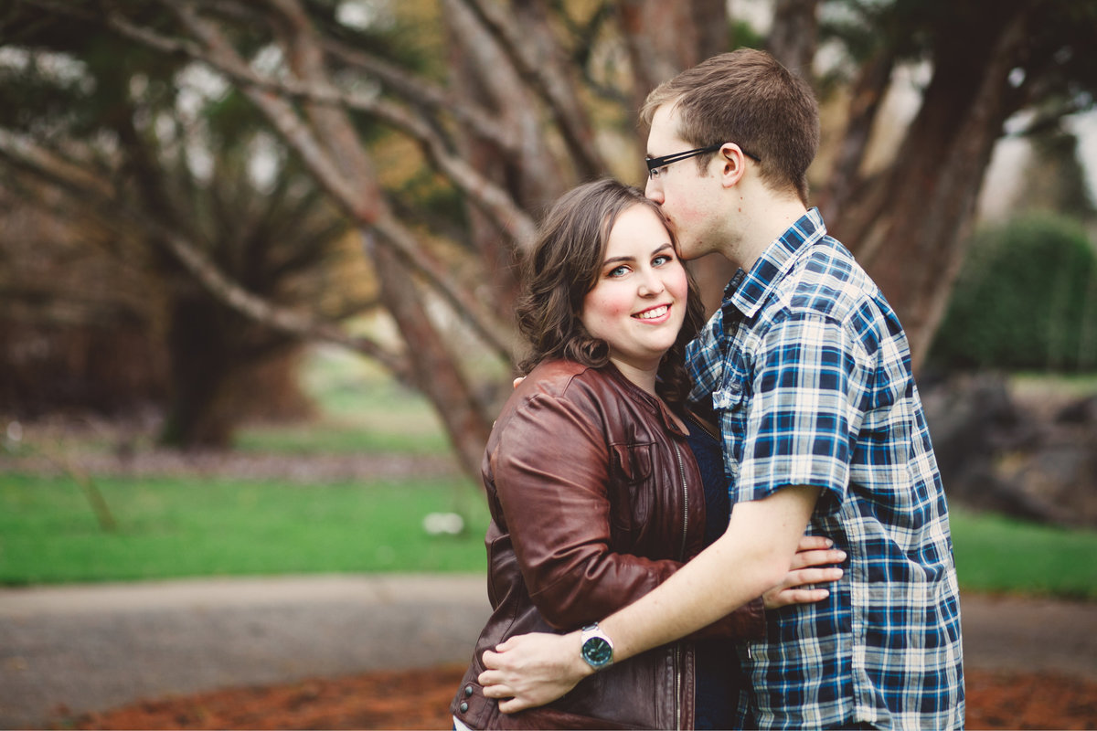 portland portrait engagement photo in the fall