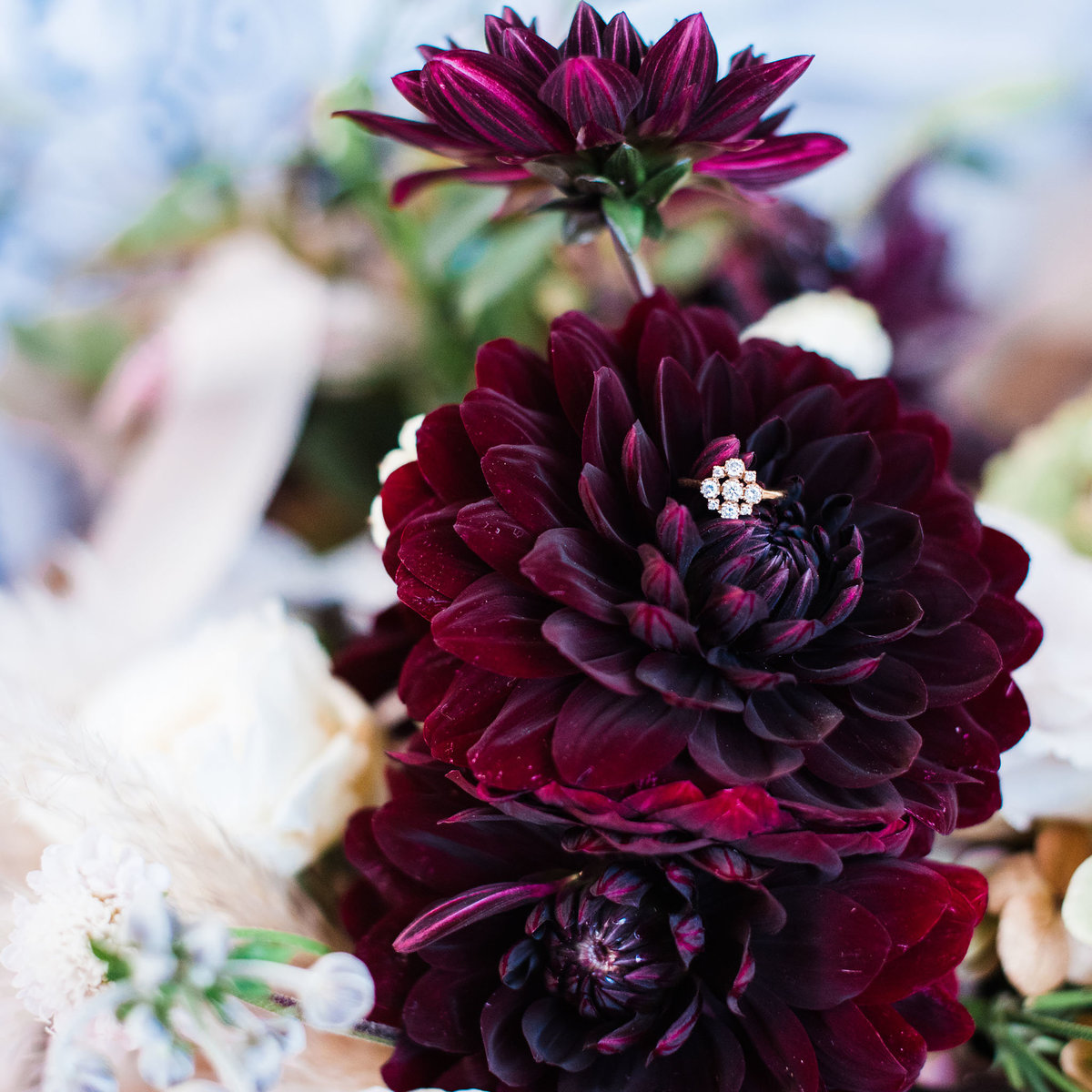 dahlia wedding bouquet with vintage engagement ring