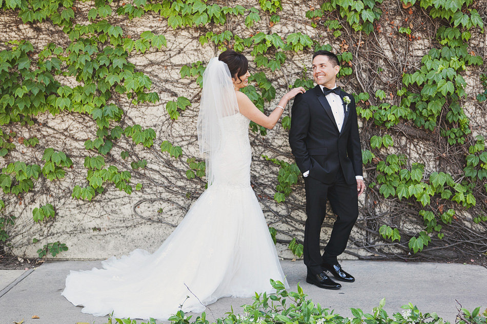 Bride and groom have first look at LA Rivers and Garden Centery