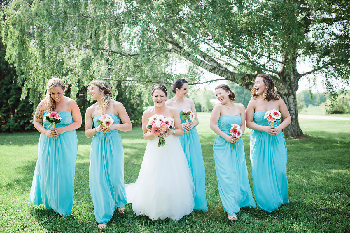 bride and bridesmaids, turquoise and pink wedding