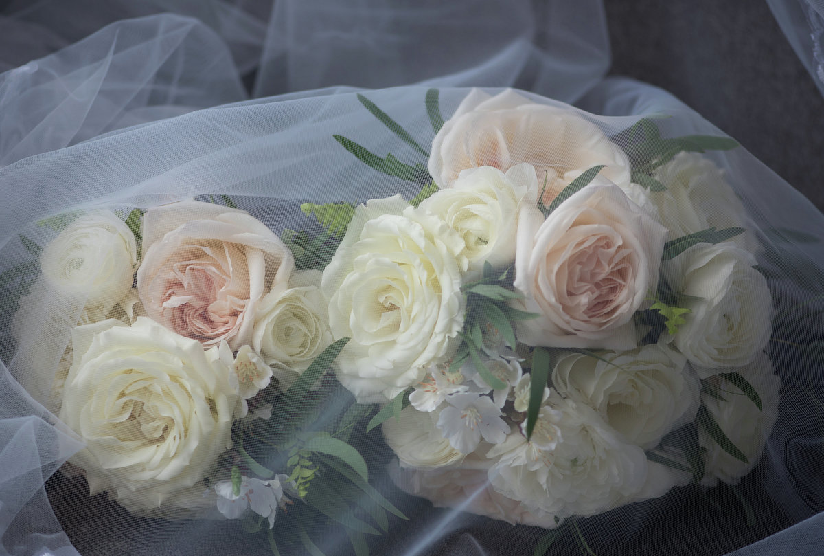 Renaissance Hotel, Albany, NY,  cream and blush rose bouquet, tulle veil