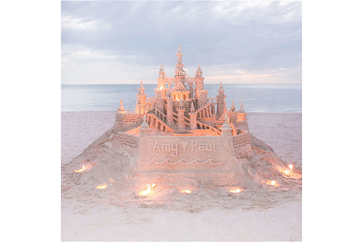 sand castle wedding photo