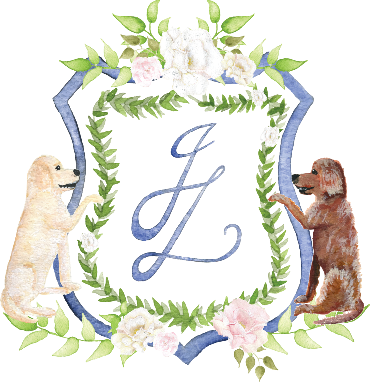 By Brittany Branson custom watercolor wedding crest