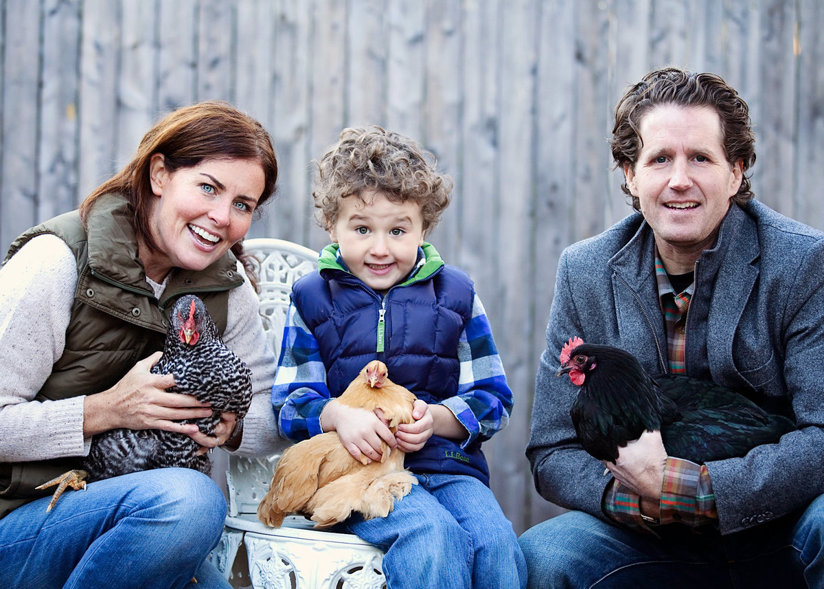 A New Haven family is captured at home with their chickens by CT family photographer Karissa Van Tassel