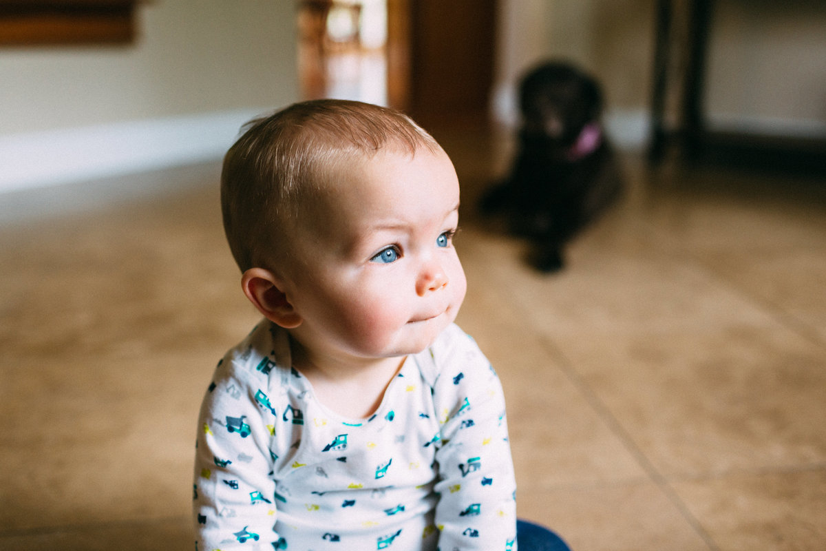 dramatic window light showing baby with blue eyes