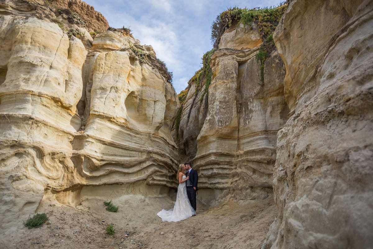 san clemente california dunes with bride and and groom