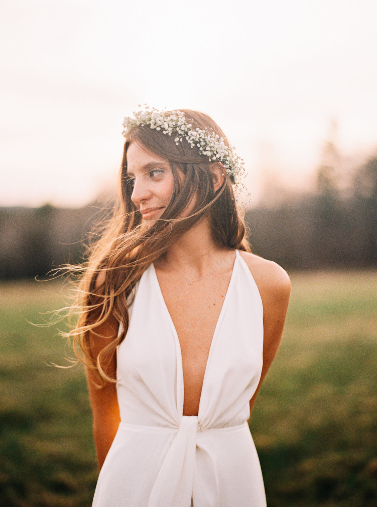 harrington farm modern bride at sunset wind in hair