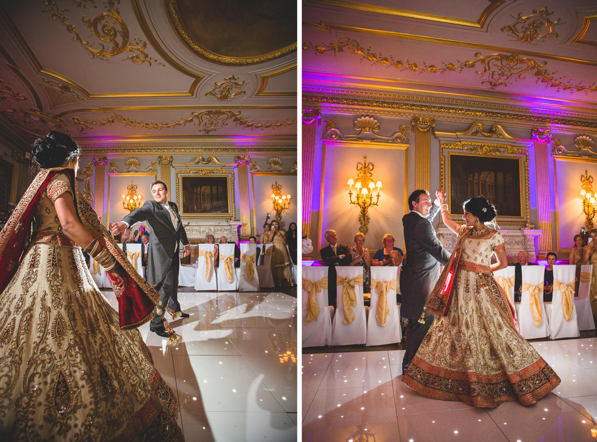 bride and grooms first dance at knowsley hall indian wedding