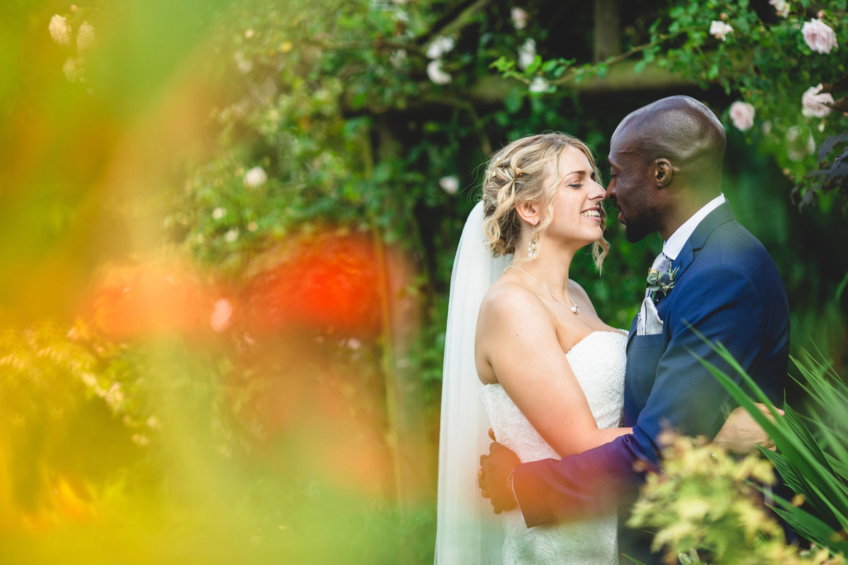 bride and groom in a london garden