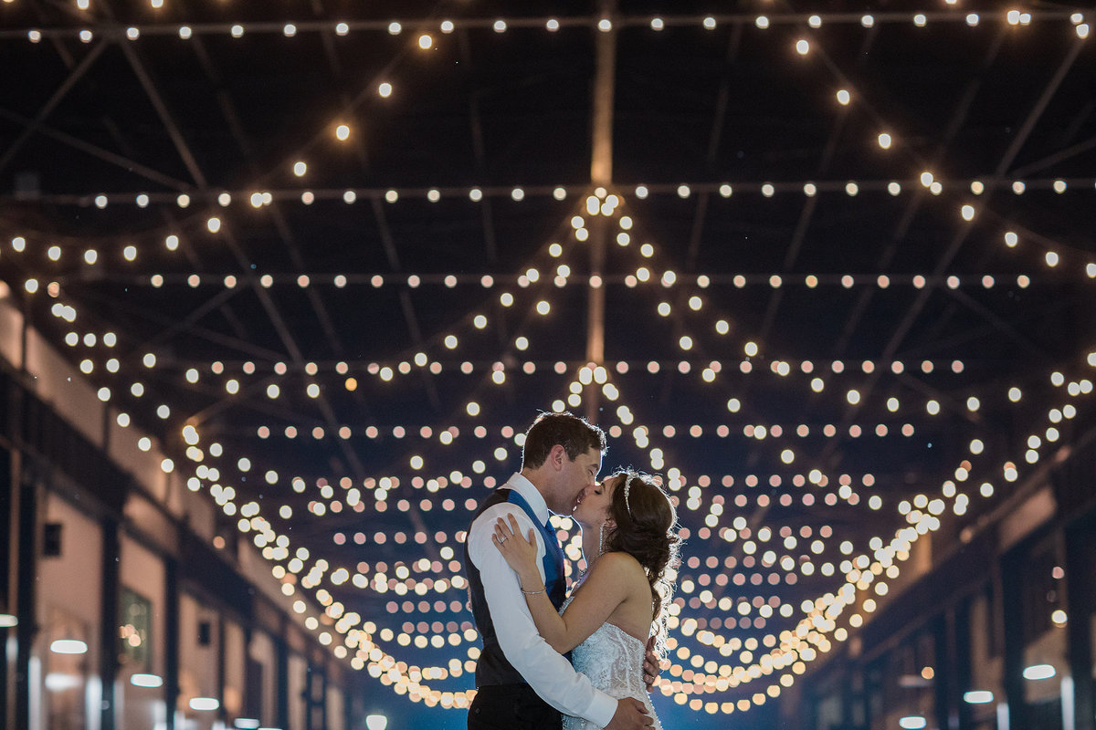 Nighttime wedding photographs at ironworks hotel in beloit wi