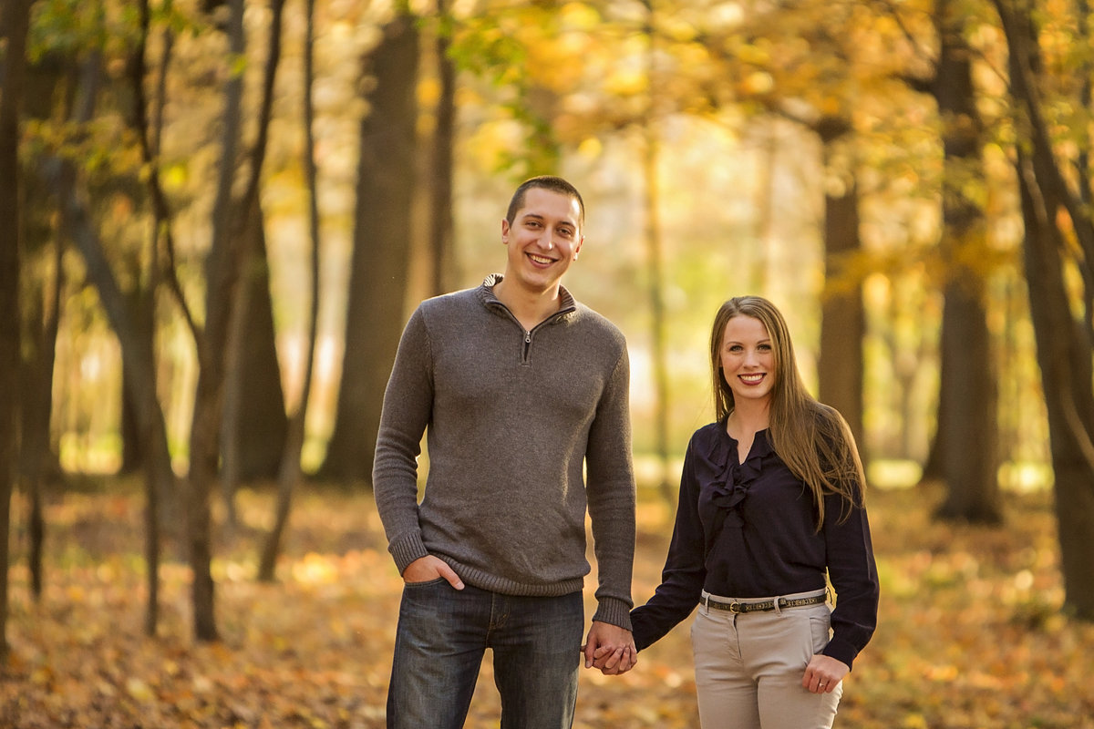 Classic fall foliage Green Isle Park engagement photos by Green Bay wedding photographer Casi Lea Photography