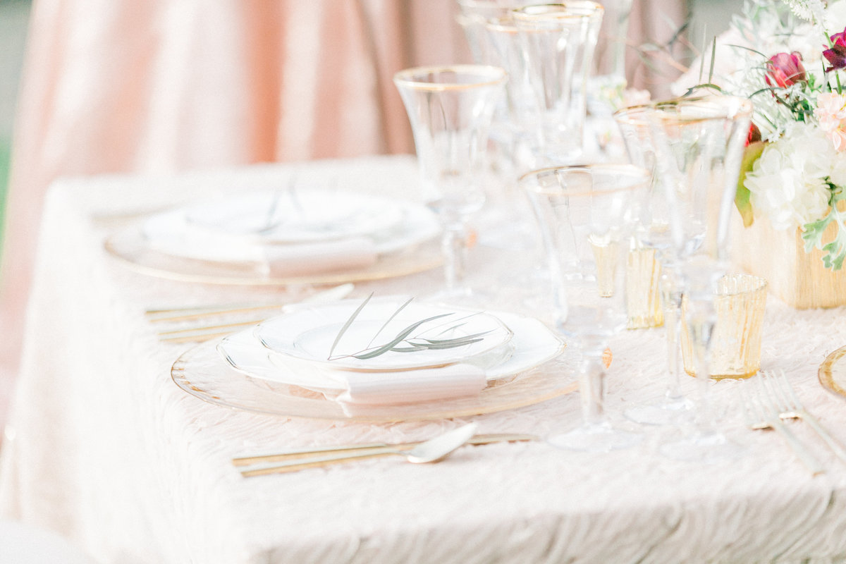 Blush Gold Gilded Reception Table Setting