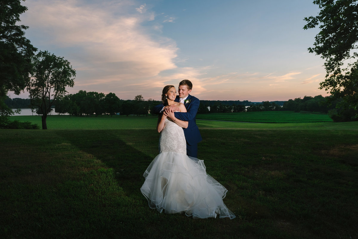 eastern shoe brittland manor bride and groom at sunset