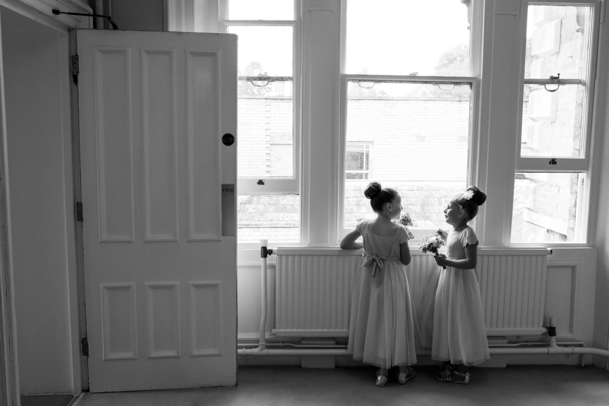flower girls at reed hall wedding exeter