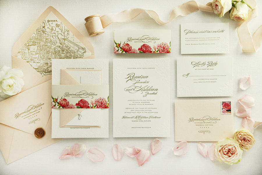 Letterpress-Wedding-Invitation-Gold-Pink-floral