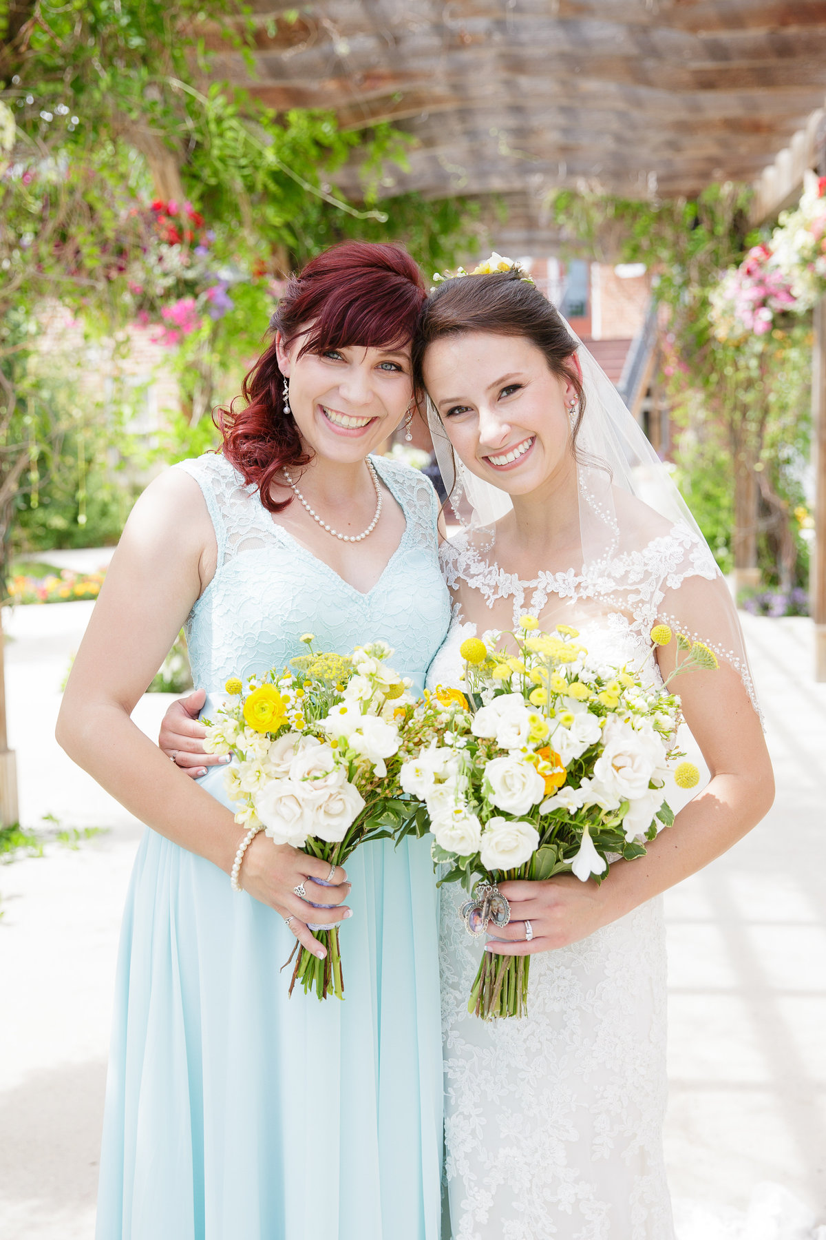 bride-with-maid-of-honor-garden-wedding-4