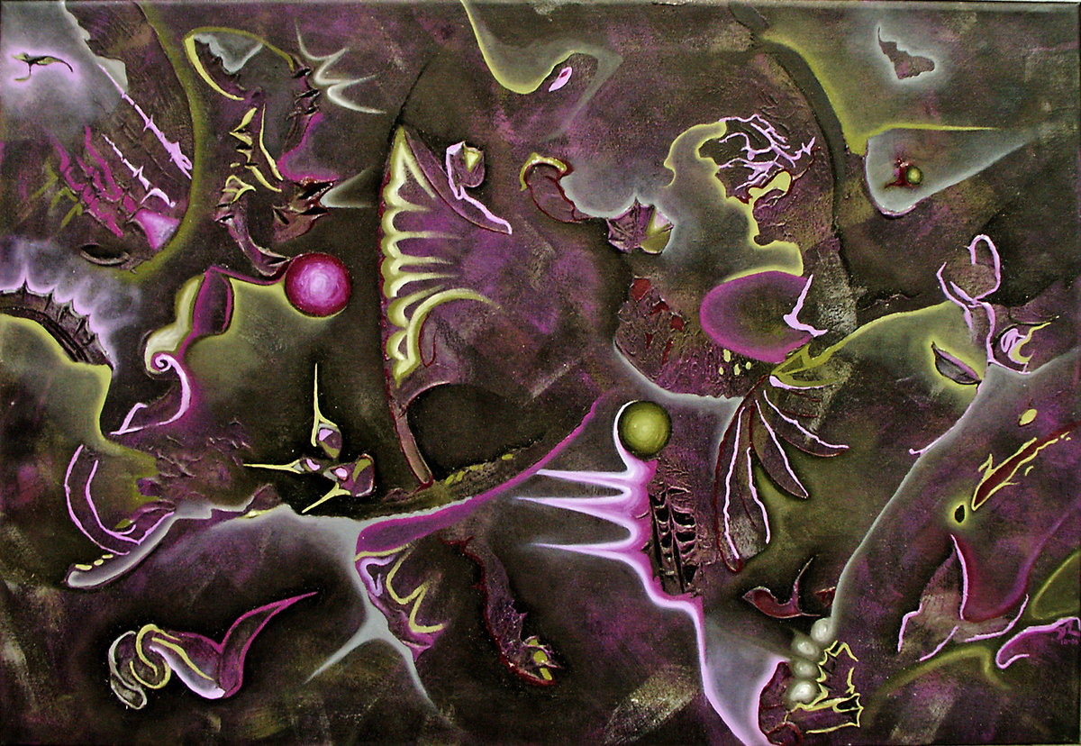 2006 Black, Violet, Olive, Grey Abstract